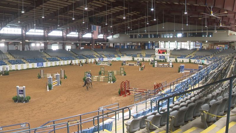 The indoor arena at the Virginia Horse Center in Rockbridge County, Va., as it hosts the...