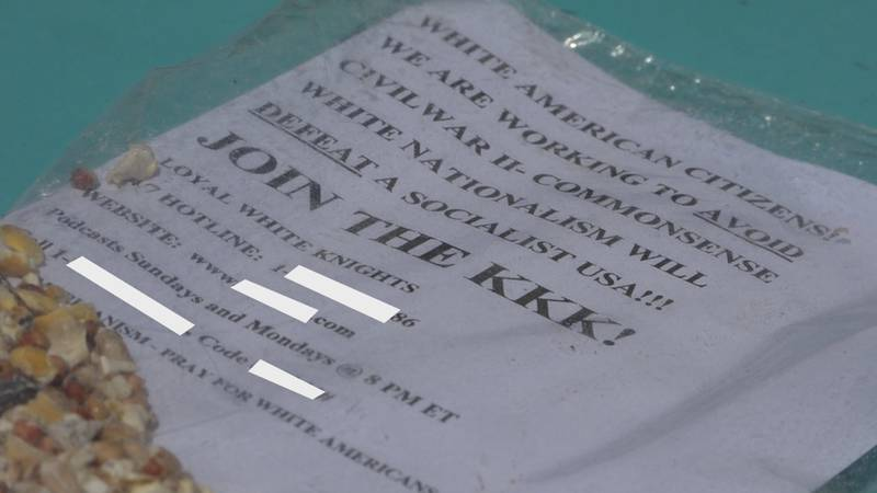 The flyer was found inside a plastic bag with bird seed inside.