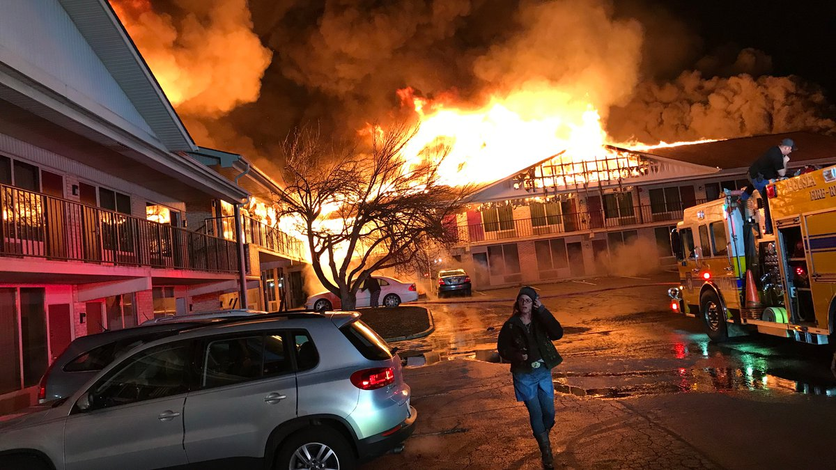 Photo submitted to WHSV by Hollis Engley of the fire at the Red Roof Inn in Staunton