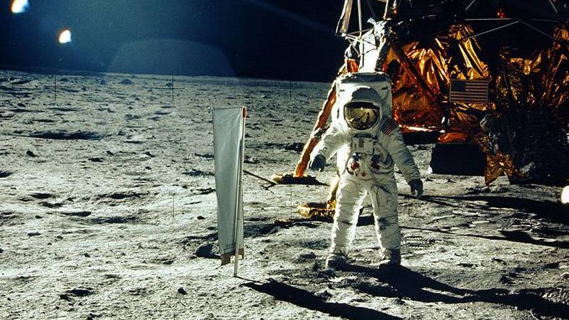 Buzz Aldrin, the second man to step foot on the moon, conducting a solar wind experiment.