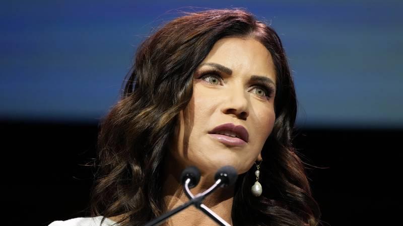 FILE - South Dakota Gov. Kristi Noem speaks during the Family Leadership Summit in this July...