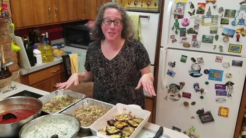Abby Schweber bakes multiple lasagnas to deliver to those in the community.