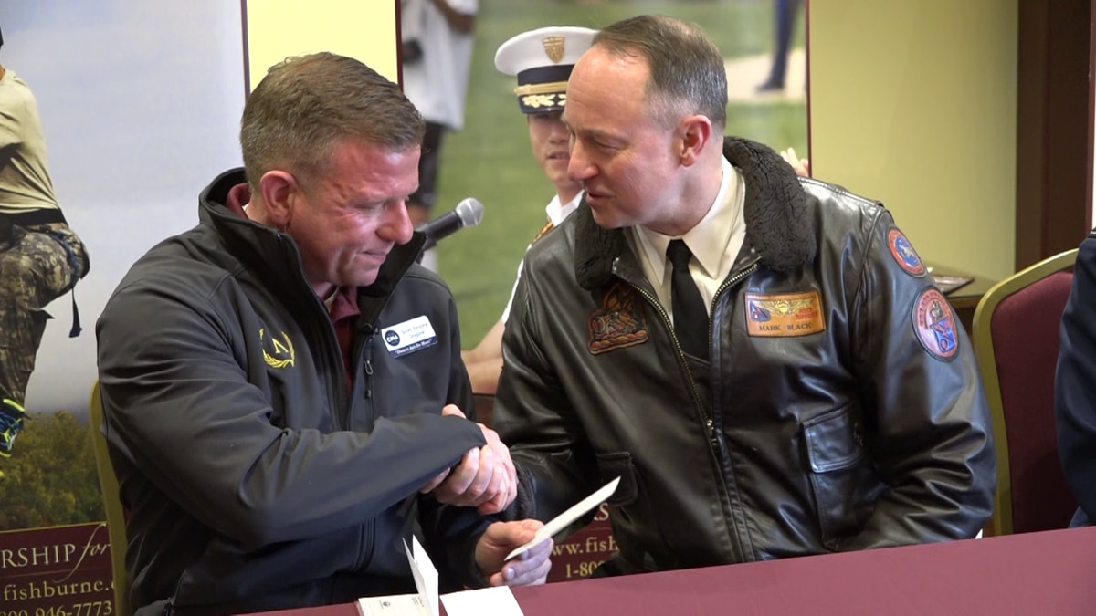 Scott Simons makes a $100,000 donation to Fishburne Military School in Waynesboro.