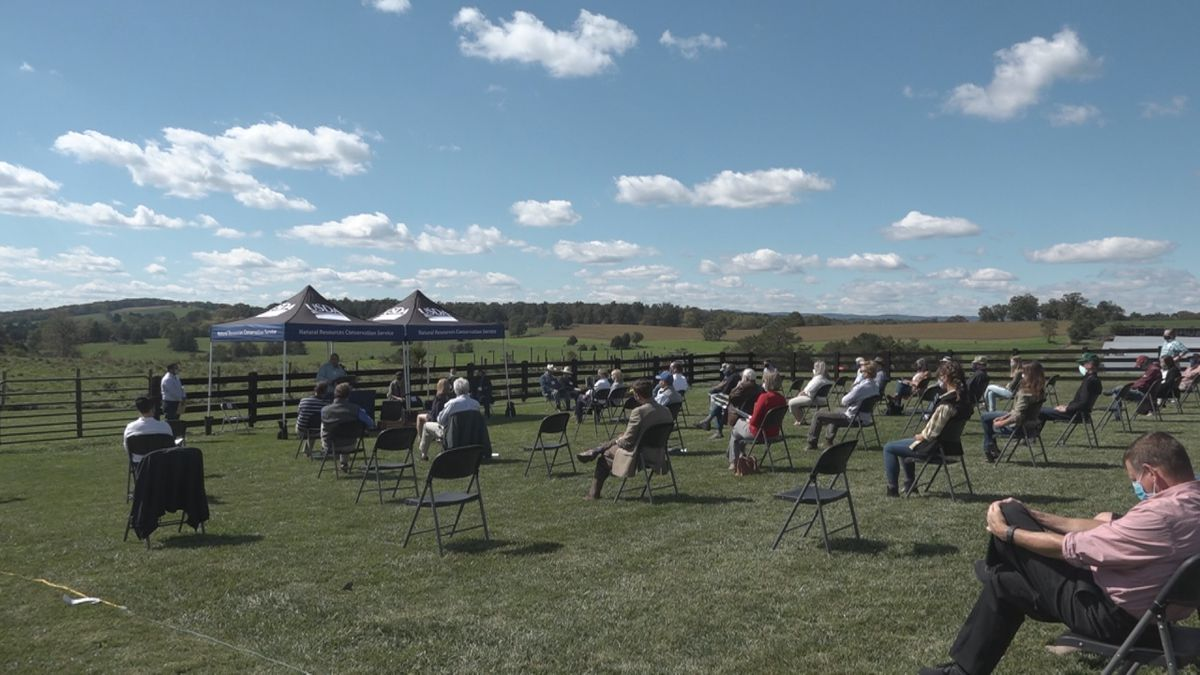 Local farmers, members of the NRCS, USDA, and USGS gathered today at a farm in Broadway to...