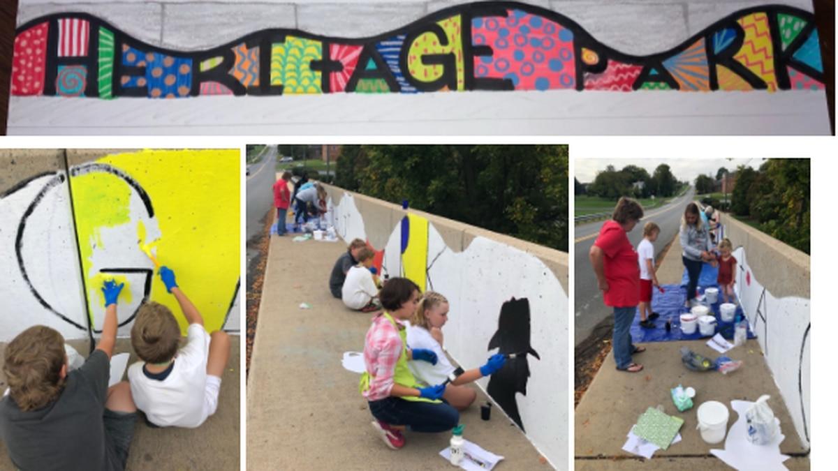 John C Meyers Elementary students paint mural for Heritage Park