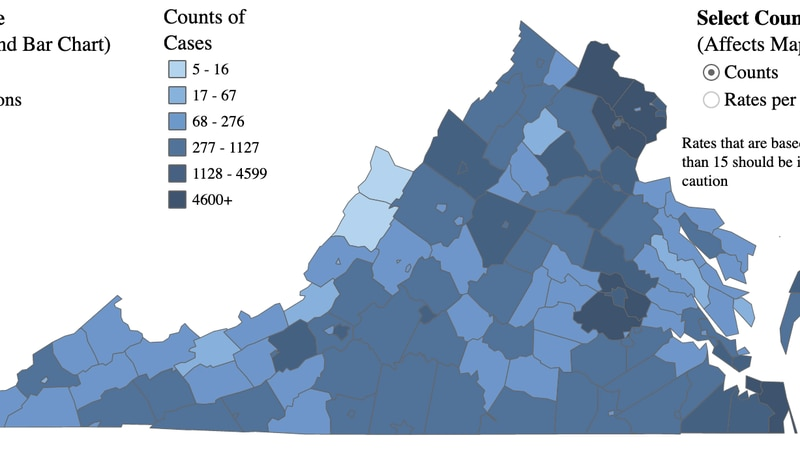 Map of COVID-19 cases in Virginia as of Sept. 20, 2020.