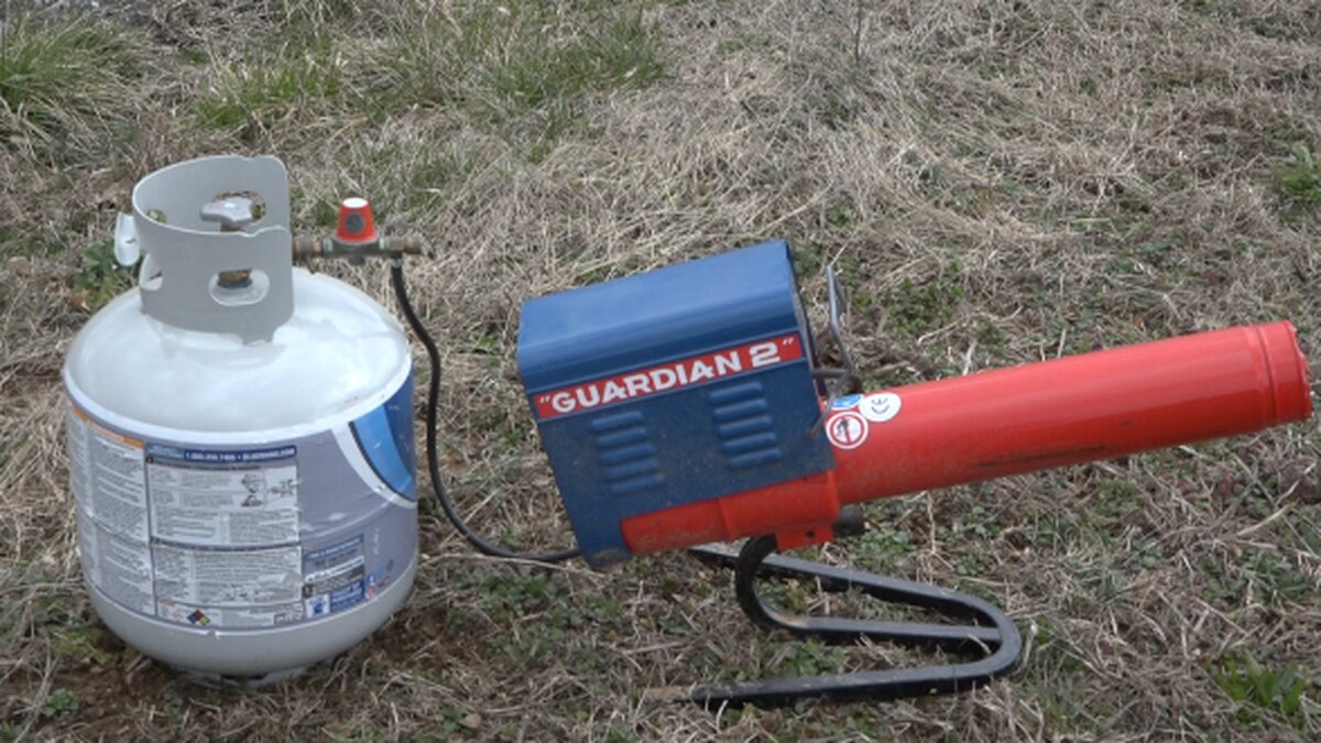 An air cannon that was used to scare off birds carrying diseases.   Credit: WHSV