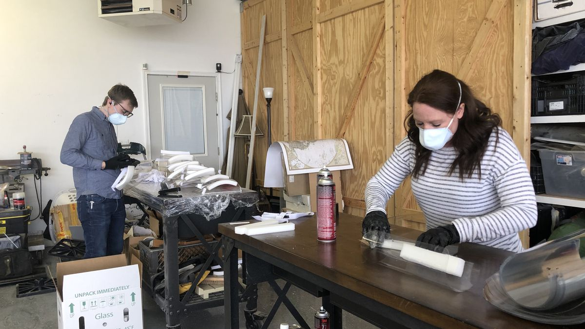 Since Saturday, Bloomaker employees have made thousands of face shields for local first...