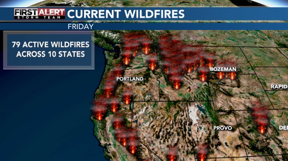 As of Friday, 79 active wildfires are burning across 10 states.