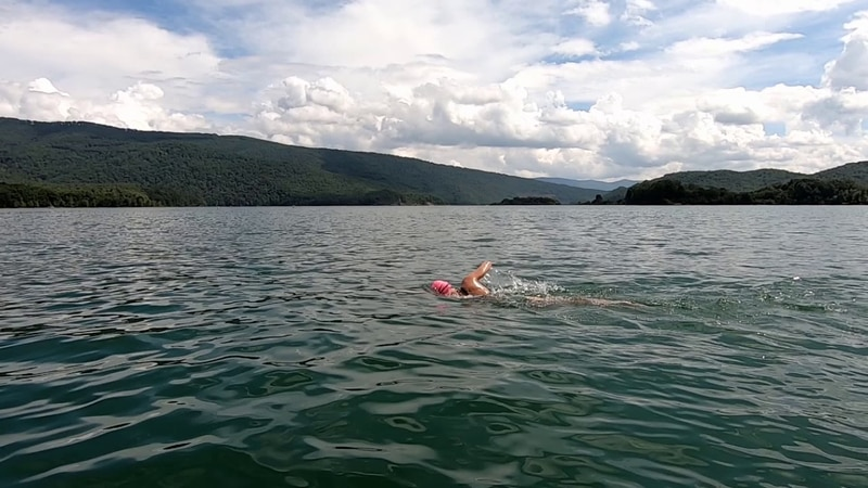 A Staunton woman swam 15 miles to show her support for a local rescue squad.