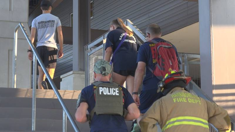 On Saturday morning Harrisonburg first responders climbed 110 stories of stairs at JMU's...