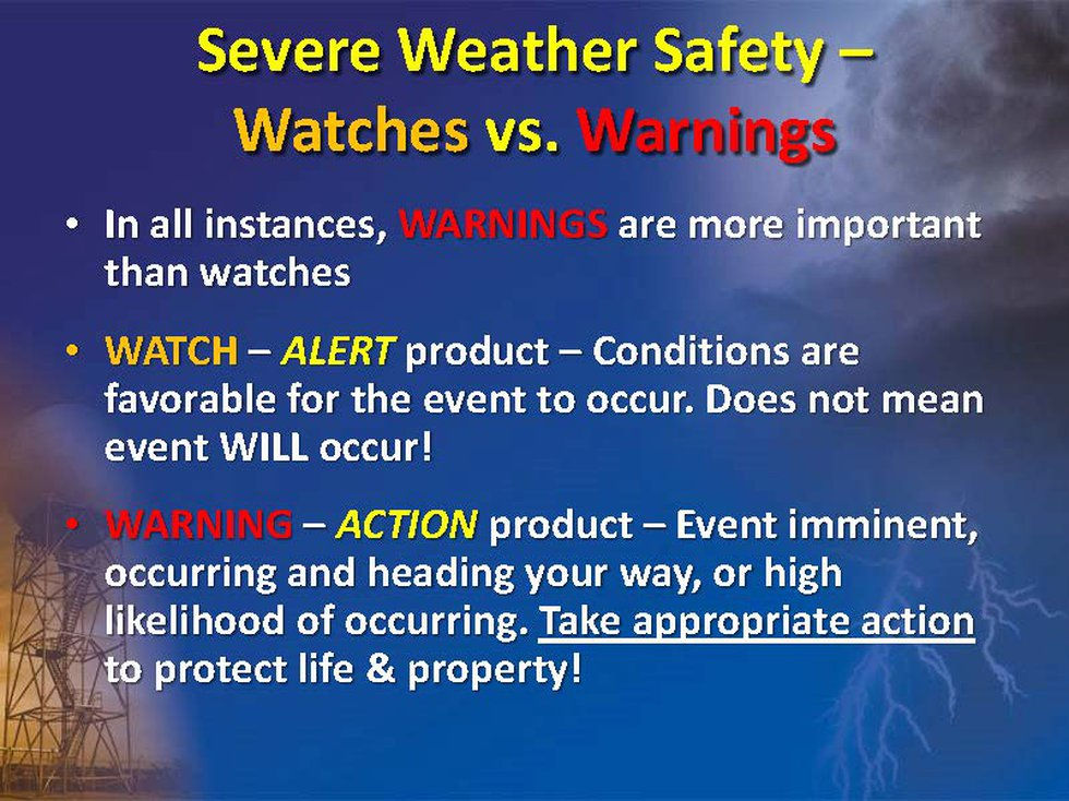 Severe watches vs. Warnings
