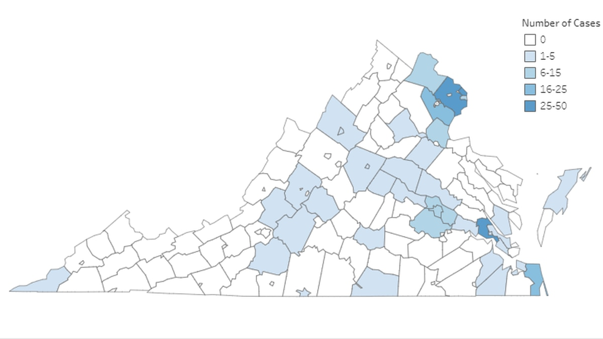 Graphic: The Virginia Department of Health as of 12 p.m. on March 23, 2020