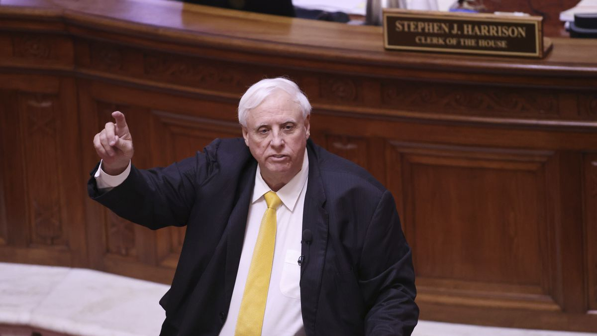 FILE - West Virginia Gov. Jim Justice speaks during the State of the State Address in the House...