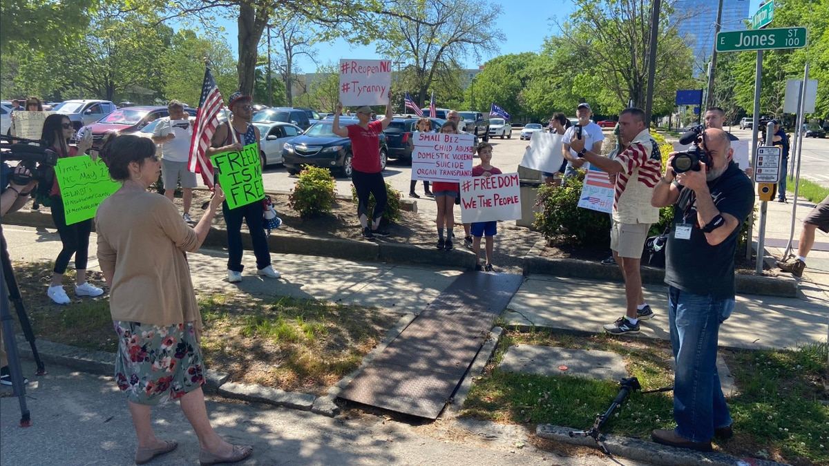 "Photo of a ""Reopen NC"" protest in Raleigh, N.C. on April 14 