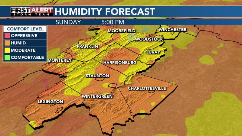 Moderate to humid comfort levels expected for the day Sunday