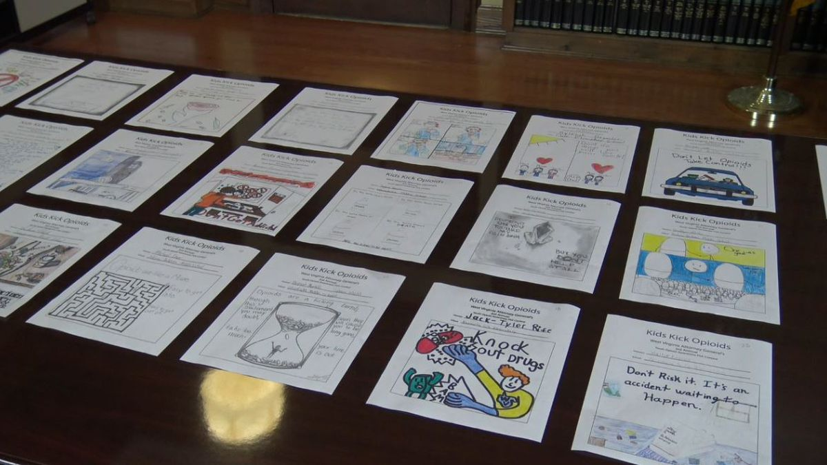 Submissions to the 2019 Kids Kick Opioids contest, displayed by West Virginia Attorney General Patrick Morrisey's office