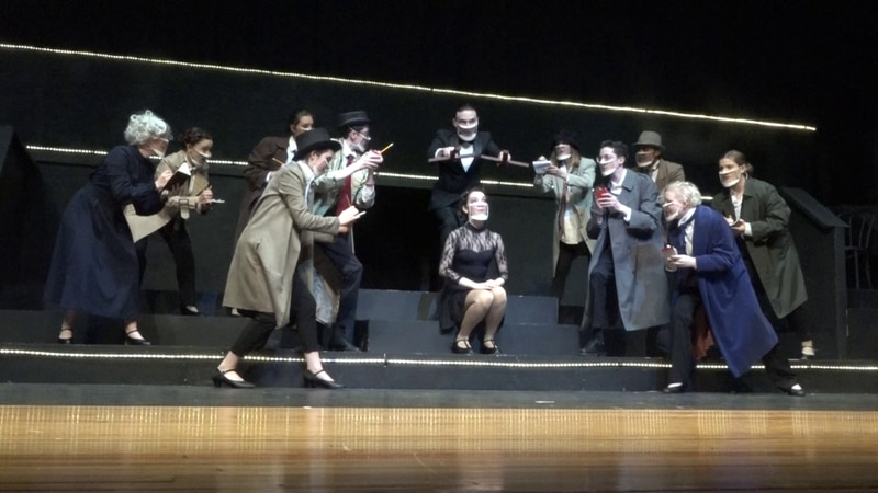 Theater students at Spotswood High School rehearse a musical number.