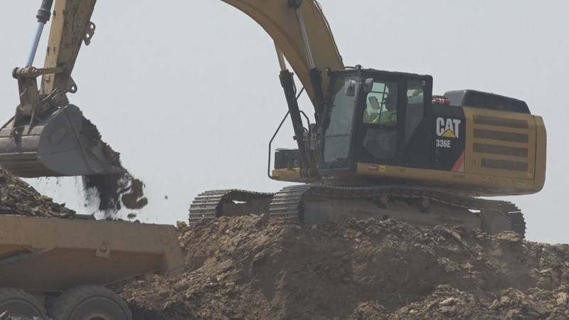 An excavator at the Cobblers Valley construction site.