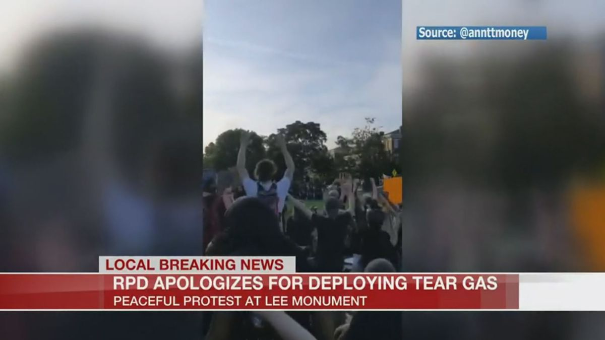 As of Tuesday morning, signs left behind by protestors were still at the Lee Monument.
