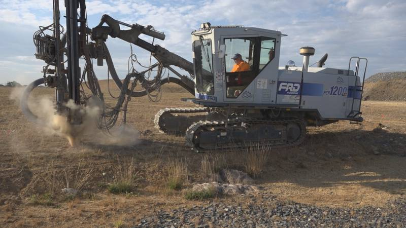 Crews were back at work drilling holes on the site of Harrisonburg's second high school.