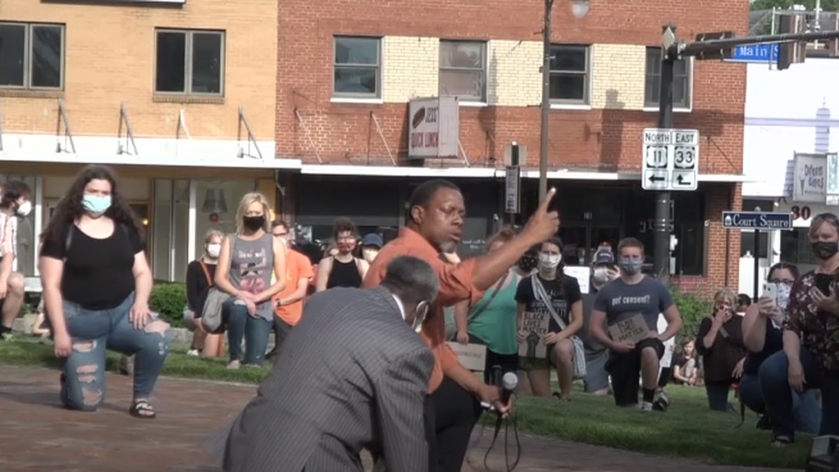 WHSV photo from a rally held in downtown Harrisonburg on Friday, May 29