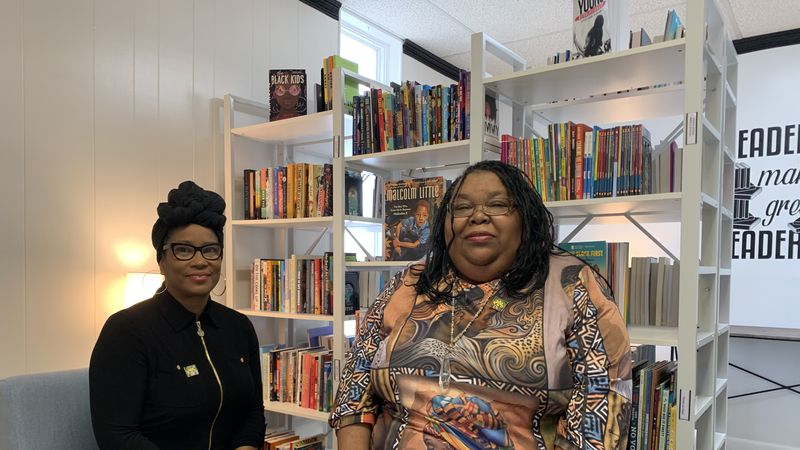 RISE Founders, Chanda McGuffin and Sharon Fitz in the RISE Black Library.