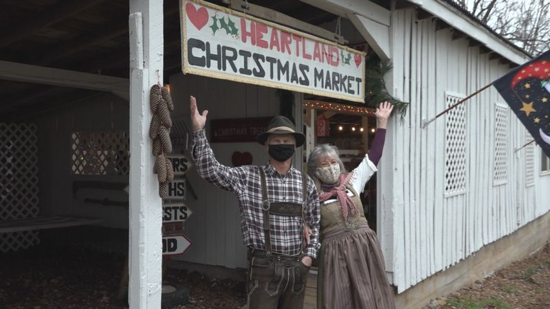 Buffy and Fred Ostlund, the owners of Ostlund Christmas Tree Farm pose in front of their new...