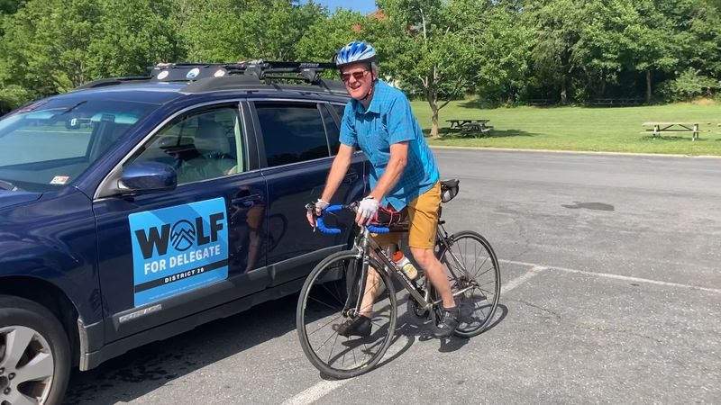 Candidate for 20 District House seat Randall Wolf getting ready for a 3-day bike tour of the...