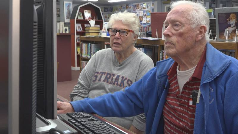 Walter and his wife Nancy travel close to 30 minutes to access the internet at the Pendleton...