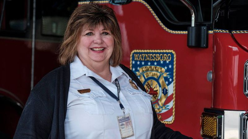 Ginny Henderson, a staple at WFD for years, on her final day.
