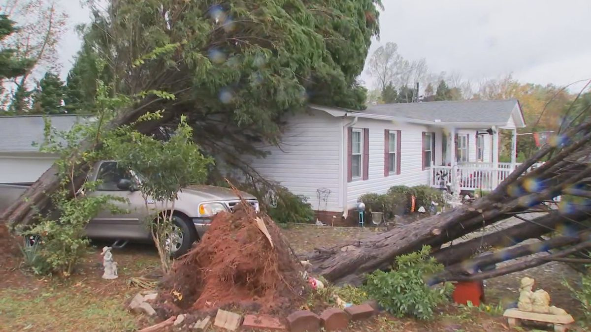 A house in Pickens County, South Carolina was spared after a truck caught a falling tree.