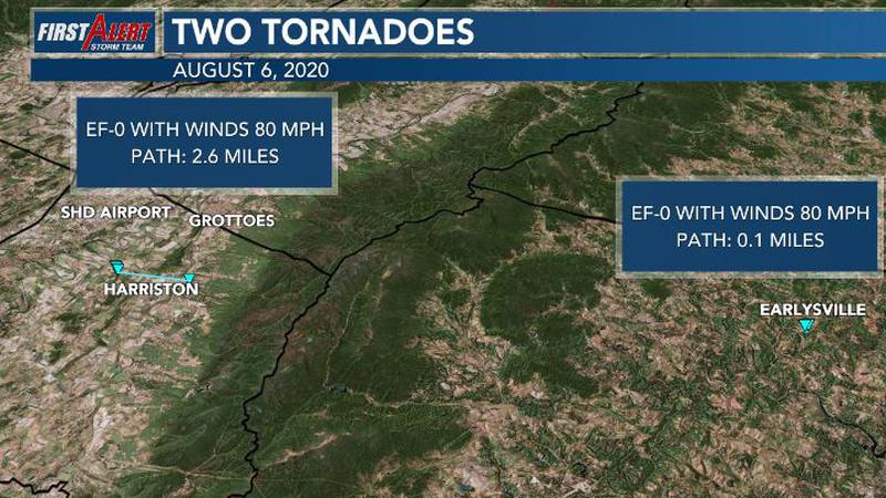 A tornado confirmed in Harriston, in Augusta County and a second in Earlysville in Albemarle...