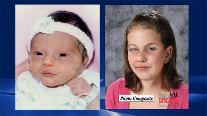 Left: Photo of Allyson Dalton as an infant before her abduction ; Right: An age progression...