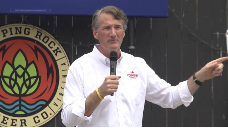 Glenn Youngkin at Skipping Rock Beer co. for a law enforcement and first responders rally