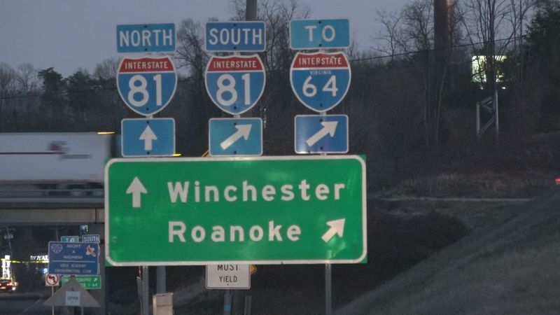 I-81 signs at a Staunton intersection.