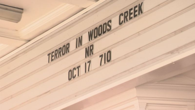 "Lexington, Va.'s State Theater marquee advertises Saturday's showing of ""Terror in Woods Creek."""