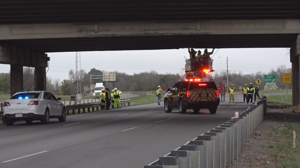 VDOT crews inspect damage to the Rt. 33 overpass at mile marker 247 of Interstate 81