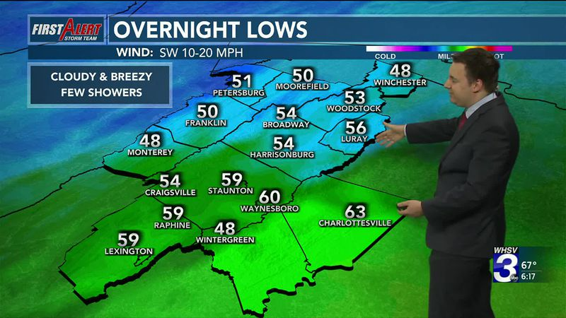 Overnight lows tonight will be in the 50s