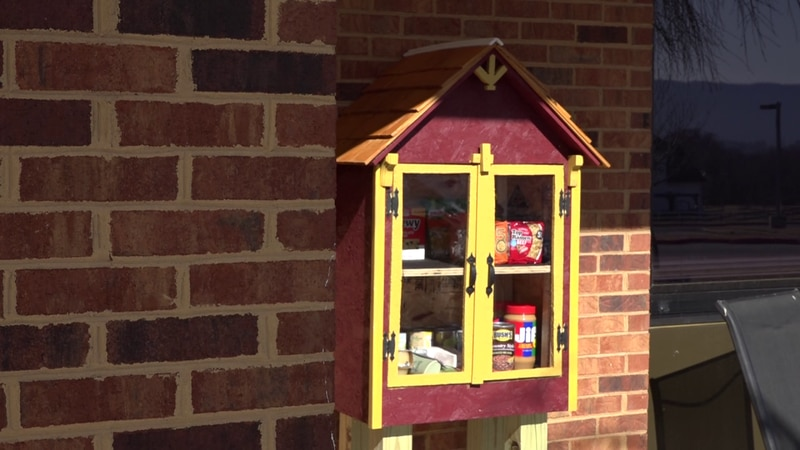 This Blessing Box is located outside of Lacey Spring Elementary School.