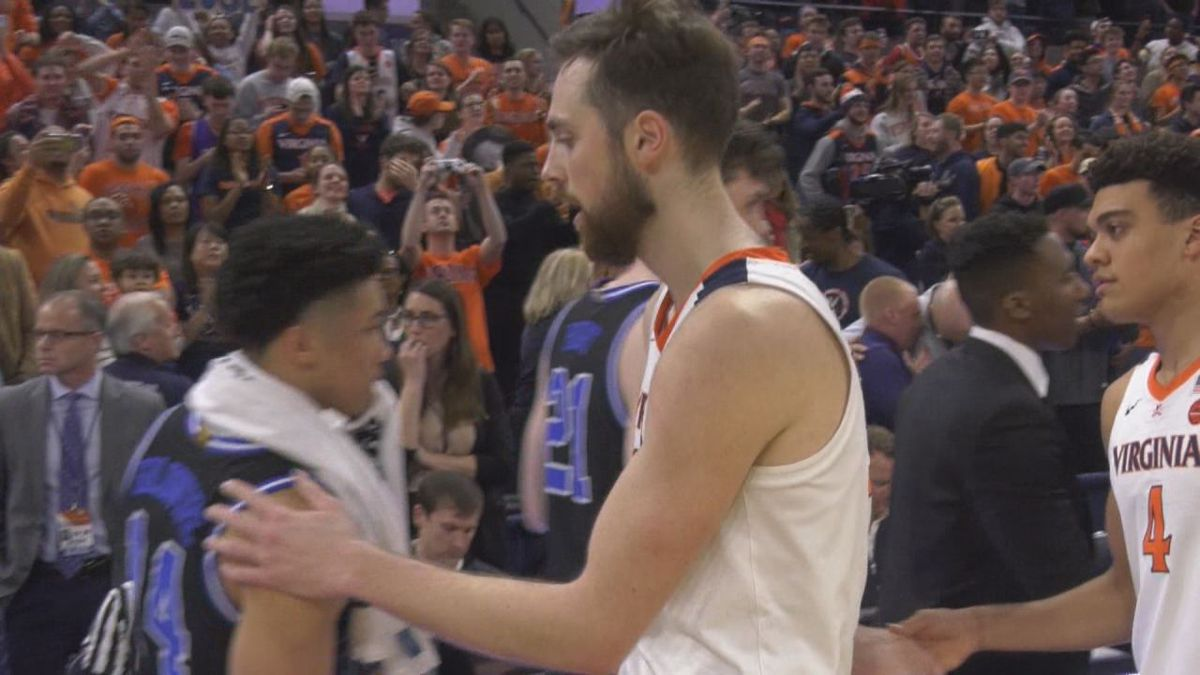 Jay Huff helped Virginia to a 52-50 win over No. 7 Duke with 15 points, 10 blocks and 9 rebounds.
