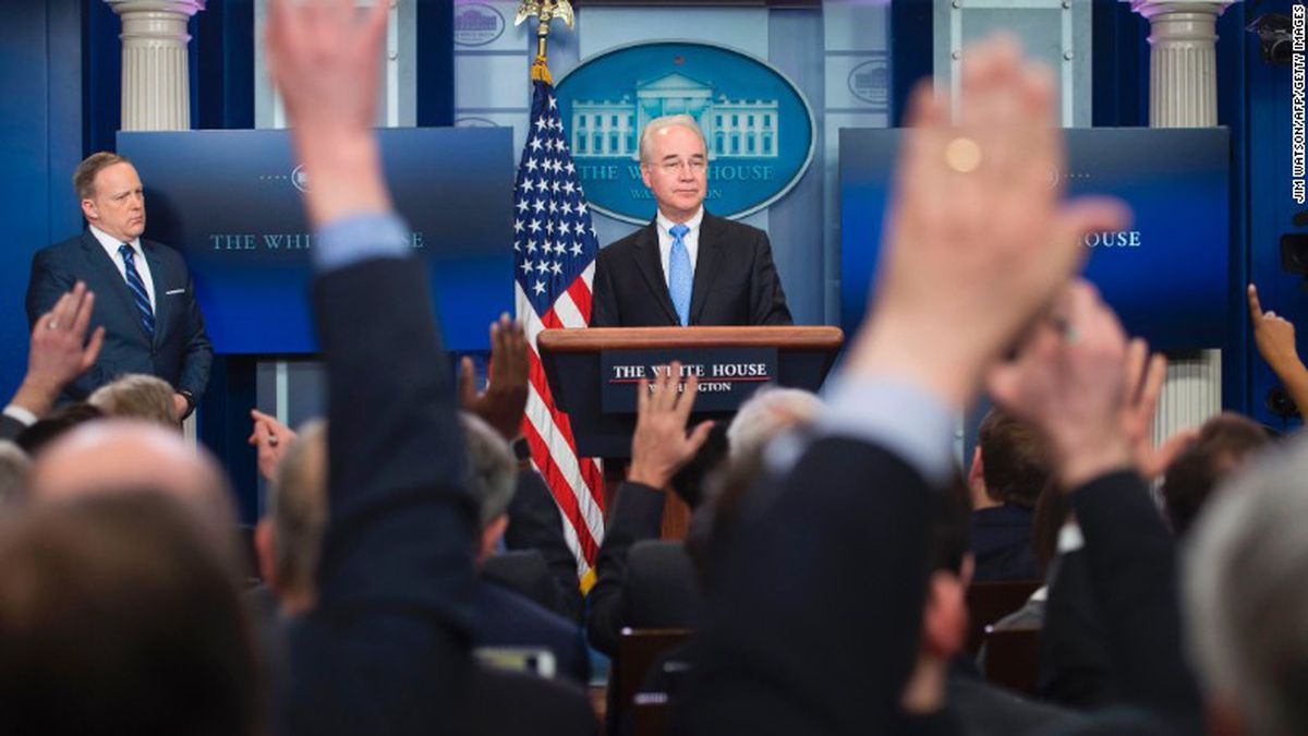 """Health and Human Services Secretary Tom Price speaks during a news conference on Capitol Hill in Washington, Friday, March, 17, 2017, as House Republicans push for unity in advancing the GOP's """"Obamacare"""" replacement bill."""