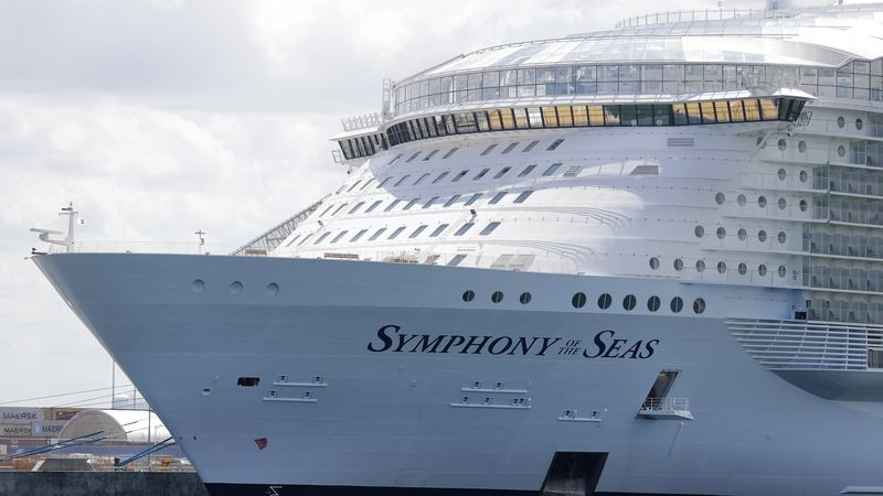 The Symphony of the Seas cruise ship is shown docked at PortMiami, in a Wednesday, May 20,...