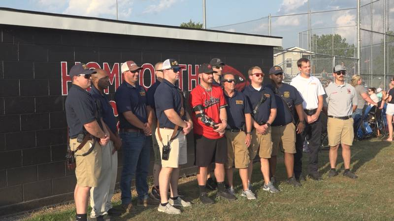20-year-old baseball player Eli Lam meets first responders who cared for him when he was in a...