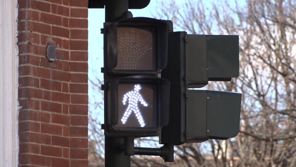 Walk signal in downtown Staunton. | Credit: WHSV