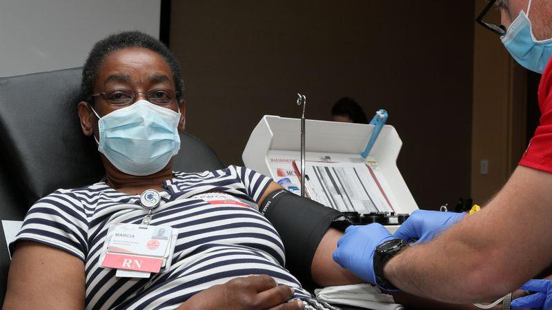Marcia at the Augusta Health Nurses Blood Drive.