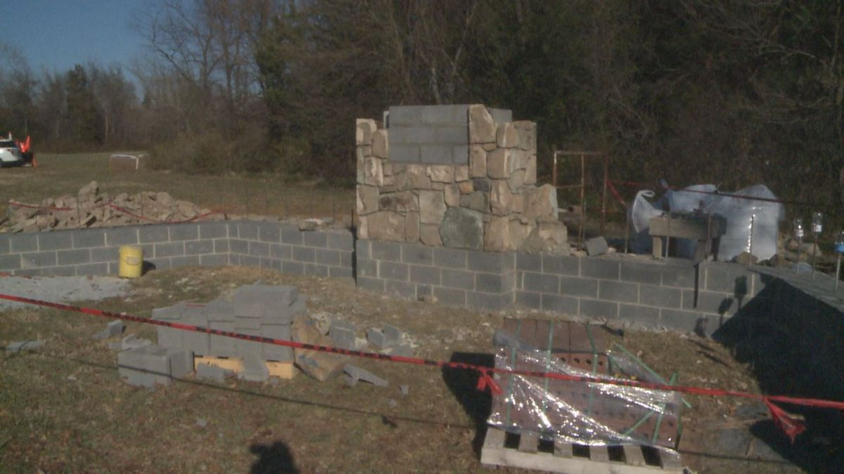 The beginning of a monument in Elkton that will honor families displaced by the creation of...
