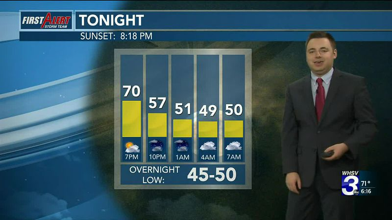 Partly to mostly cloudy tonight with lows in the upper 40s.
