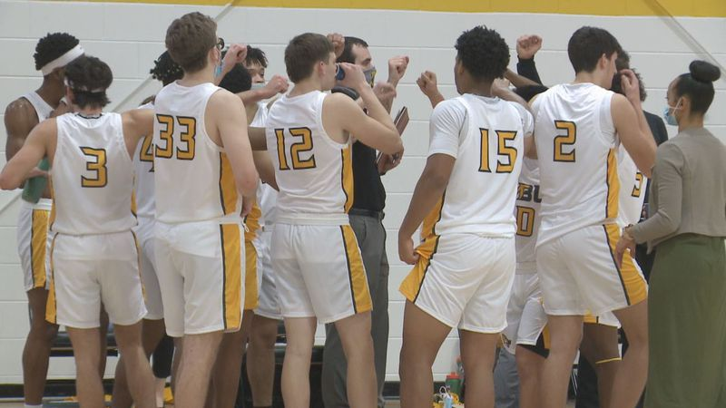 Mary Baldwin men's basketball tops Southern Virginia Saturday afternoon for first win.