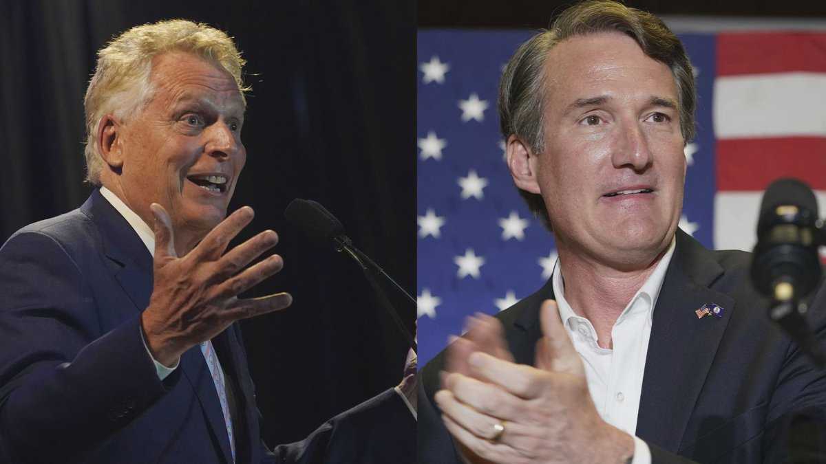 Terry McAuliffe (left) and Glenn Youngkin (right)